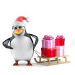 Penguin Santa delivers the Christmas presents