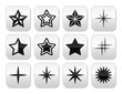 Stars christmas celebration vector buttons set