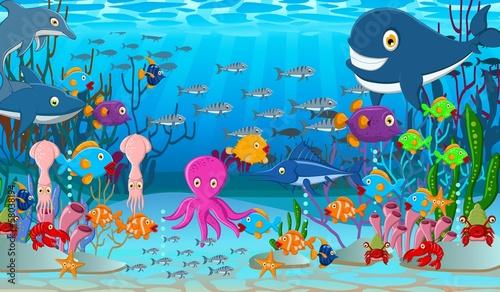 Fototapeta Sea life cartoon background