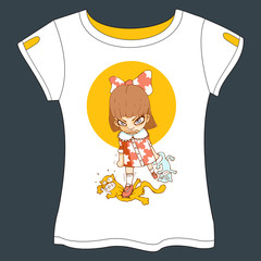 Mad Girl Vector illustration - T-shirt Template