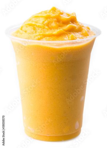 Leinwandbild Motiv mango yogurt, milk shake isolated on white