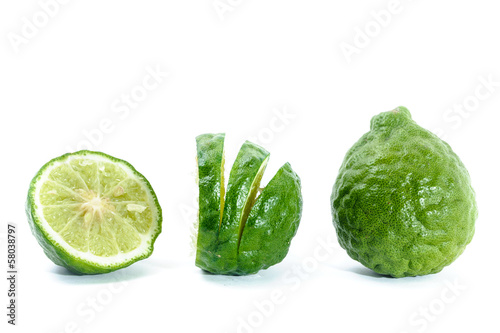 Fresh Sliced Kaffir Lime, Isolated on White