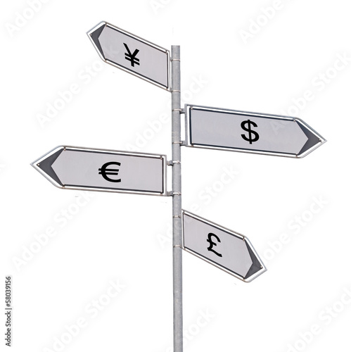 Road sign to currencies