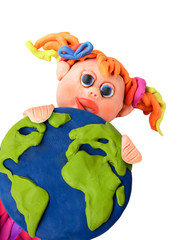 Plasticine girl with earth