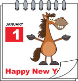 Happy New Year Calendar With Open Arms Smiling Horse