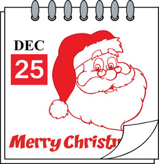 Christmas Holiday Calendar With Red Classic Santa Claus Head