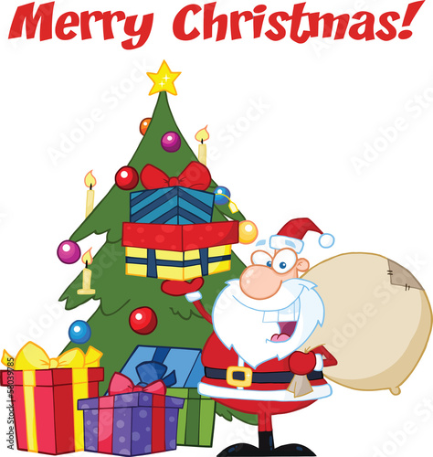 Merry Christmas Greeting With Santa Claus Holding Gifts