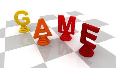Chess Game 3D font red color