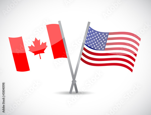 canada and us partnership concept illustration