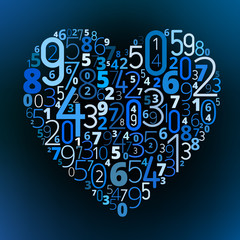 Heart vector font from numbers