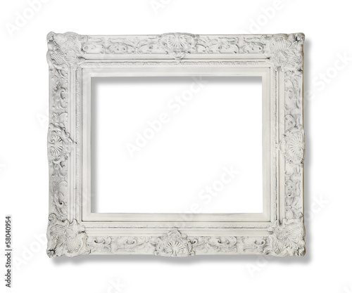 White antique picture frame isolated