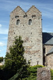 The towersof Aa church from 1150 on the Danish island Bornholm