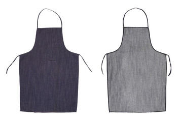 Kitchen blue apron. Front and back view
