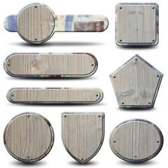 Plaques et boutons métalliques