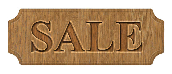 wooden label, sale, isolated on the white background.