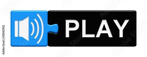 Puzzle-Button blau schwarz: Play