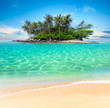 Leinwanddruck Bild - Tropical island and sand beach exotic travel background