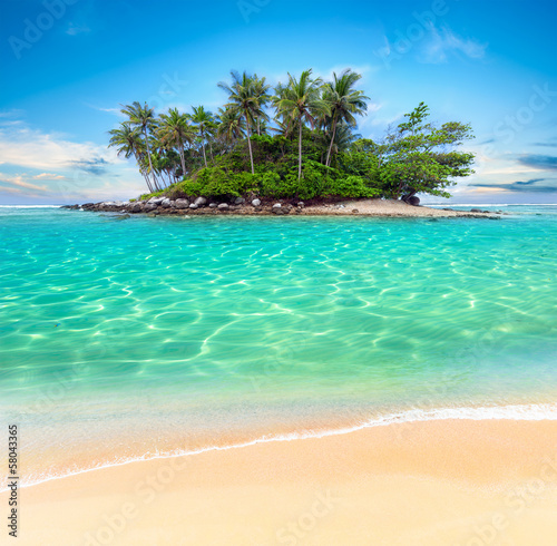 Leinwanddruck Bild Tropical island and sand beach exotic travel background