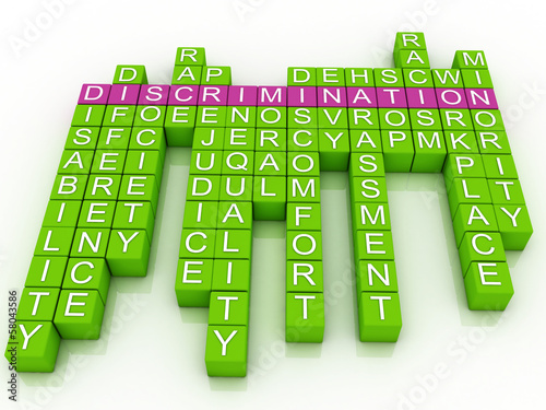 3d imagen Discrimination in word cloud