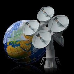 Antenna icon. Global satellite communication concept.
