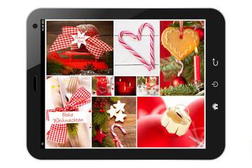 Tablet pc mit Weihnachts-Collage