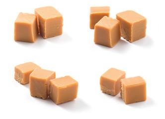 Caramel candies on white