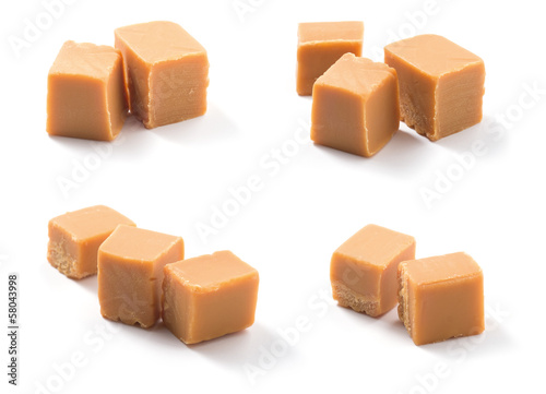 Caramel candies on white