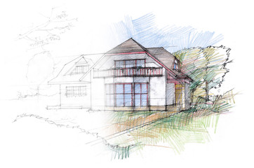 Outlined sketch of a house with a pitched roof