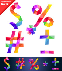 Colorful font of patches. Vector illustration. Set of symbols