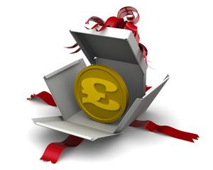Деньги в подарок. Монета британского фунта стерлингов