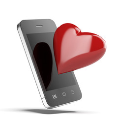Phone With Red Heart