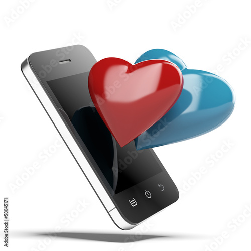 Smartphone With Love Hearts