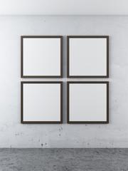 four frames on a concrete wall