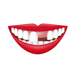 Realistic Smile isolated on white. Vector Illustration