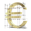 golden Euro sign with scaffold