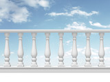 white balustrade with pillar on sky background