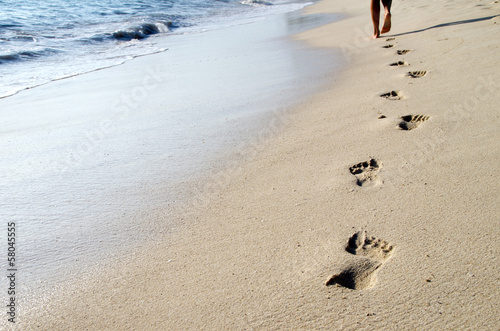 canvas print picture Footprints in beach