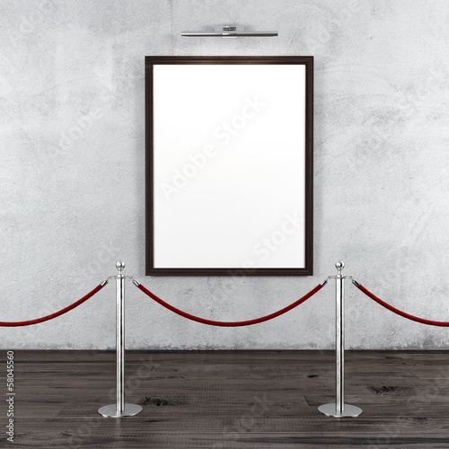 gallery with stand barriers and blank frame