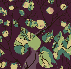 illustration with fruit trees