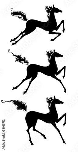 Silhouette of a horse in motion.