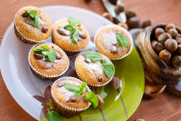 sweet curd cupcakes with hazelnuts