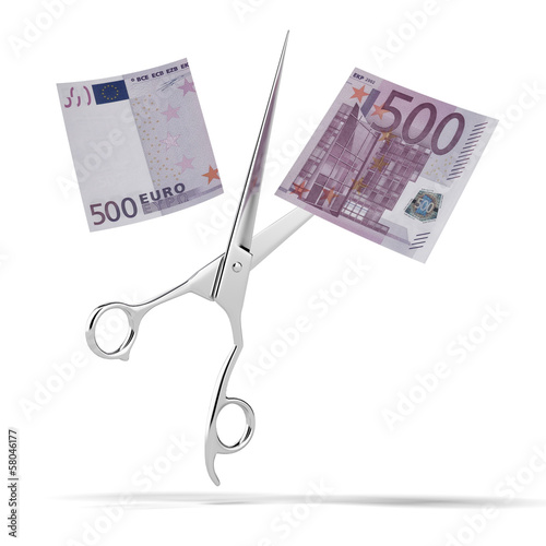 euro bill with scissors