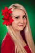 girl with xmas flower on her hair
