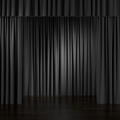Black Curtains in interior.