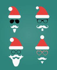 Santa Klaus fashion silhouette hipster style, icons