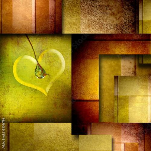 background with heart design element on brown and green