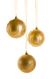 Golden  Christmas Ornaments isolated on white background. Christ