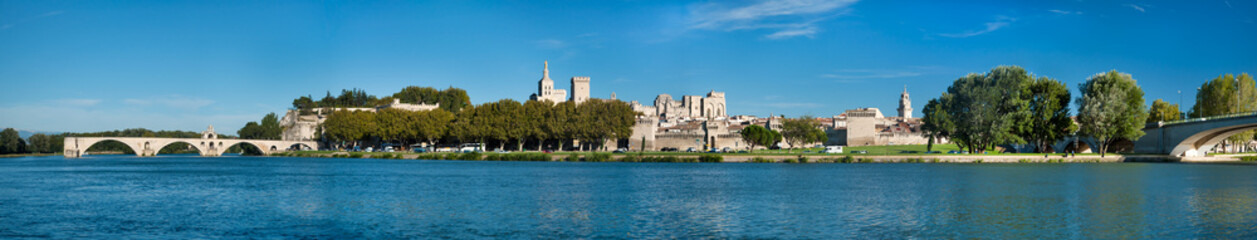 Great Panoramic view of Avignon old city and Rhone river