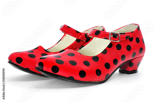 typical dot-patterned red flamenco shoes
