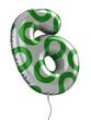 number 6 balloon 3d illustration